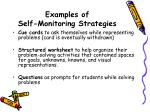 examples of self monitoring strategies