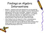 findings on algebra interventions