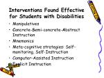 interventions found effective for students with disabilities