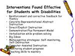 interventions found effective for students with disabilities30