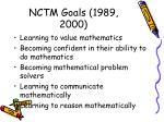 nctm goals 1989 2000