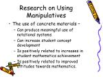 research on using manipulatives