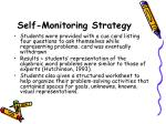 self monitoring strategy