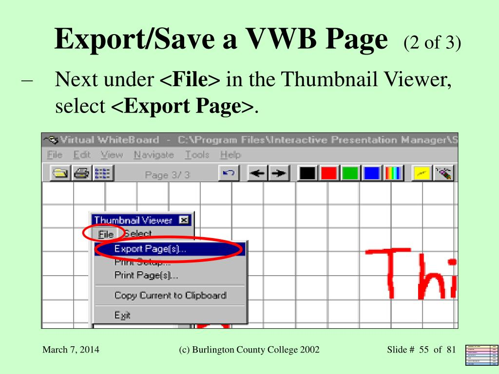 Export/Save a VWB Page