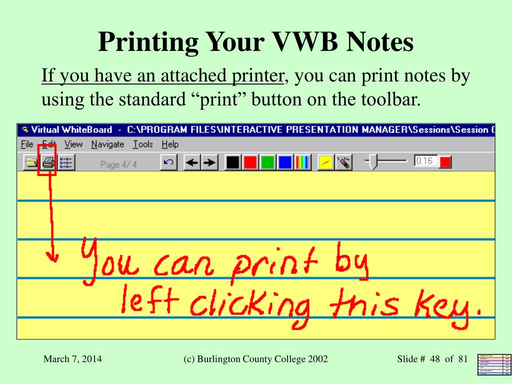 Printing Your VWB Notes