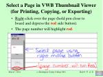 select a page in vwb thumbnail viewer for printing copying or exporting
