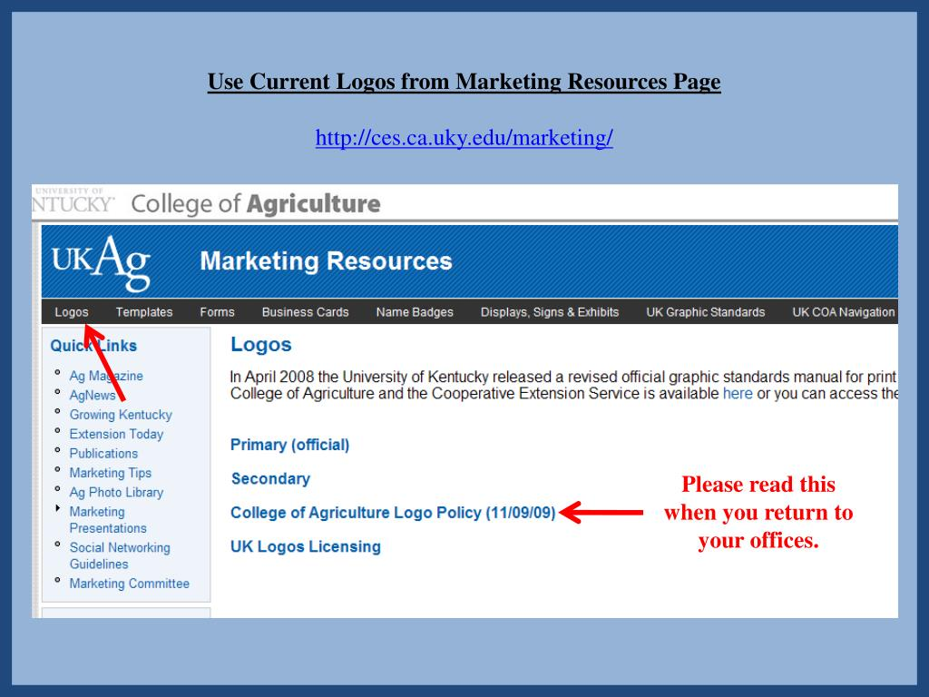 Use Current Logos from Marketing Resources Page