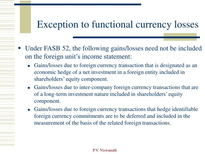 Exception to functional currency losses