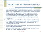 fasb 52 and the functional currency