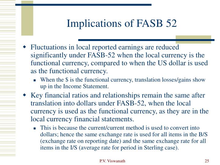 Implications of FASB 52