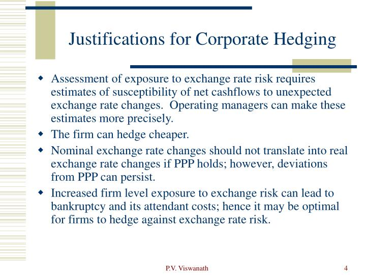 Justifications for Corporate Hedging