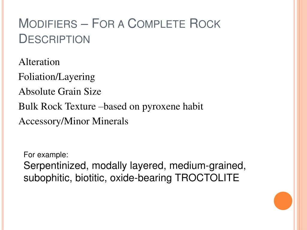 Modifiers – For a Complete Rock Description