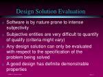 design solution evaluation