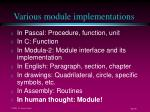various module implementations