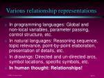 various relationship representations