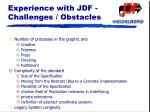 experience with jdf challenges obstacles