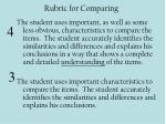rubric for comparing