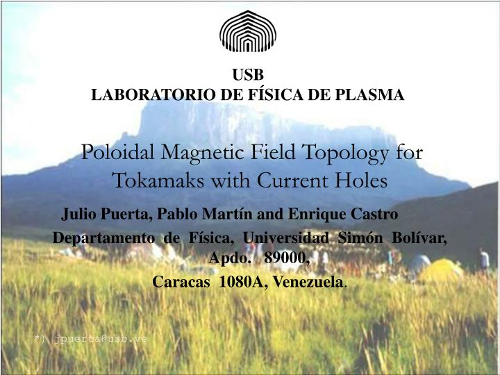 poloidal magnetic field topology for tokamaks with current holes n.