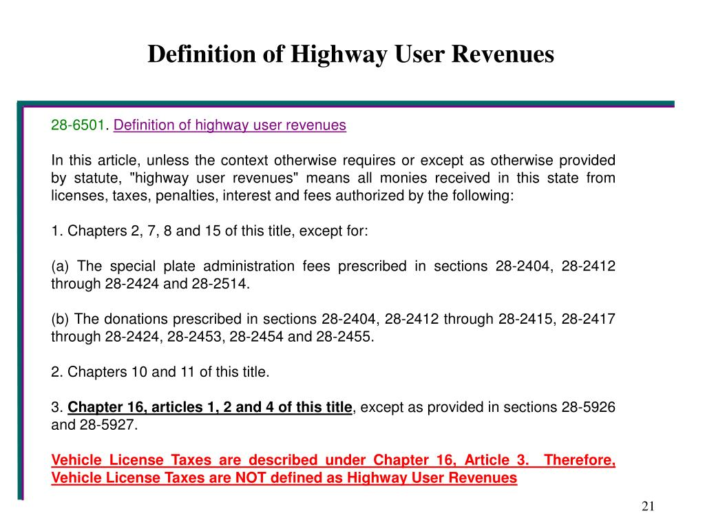 Definition of Highway User Revenues