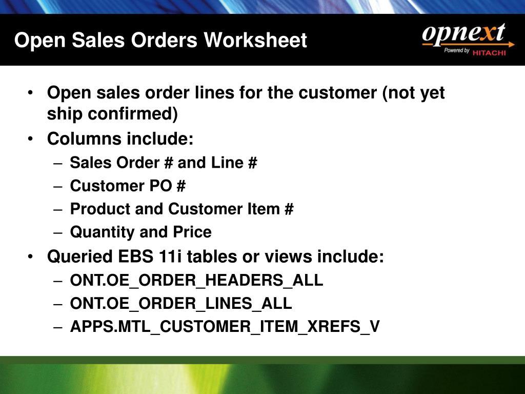 Open Sales Orders Worksheet