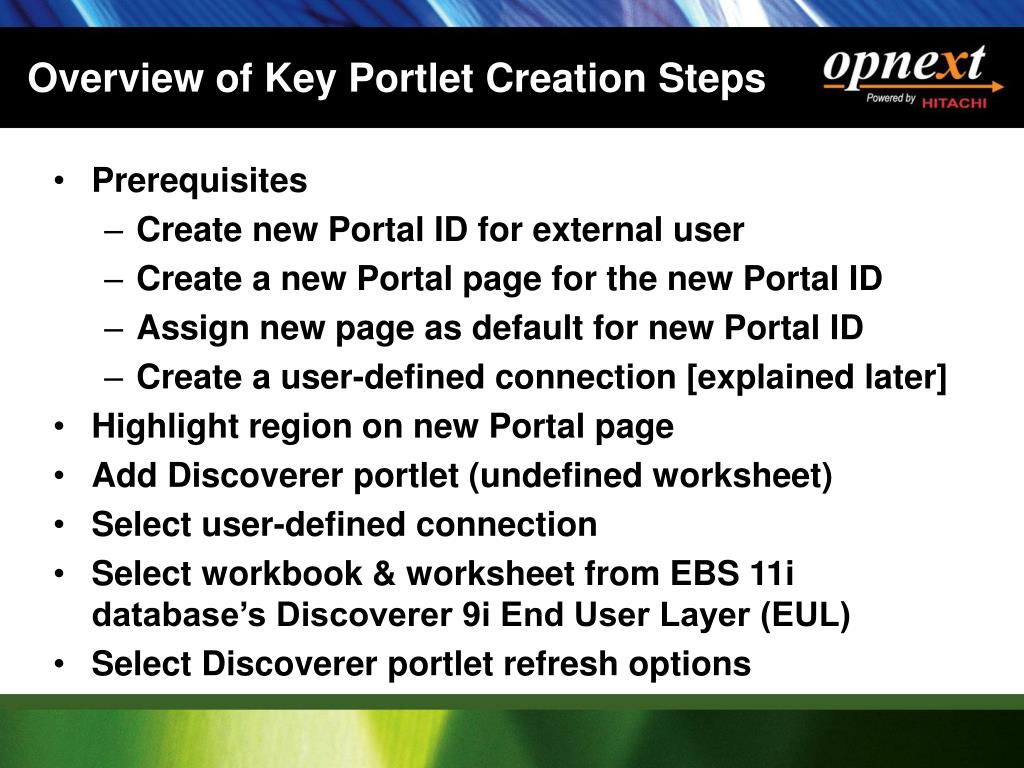 Overview of Key Portlet Creation Steps