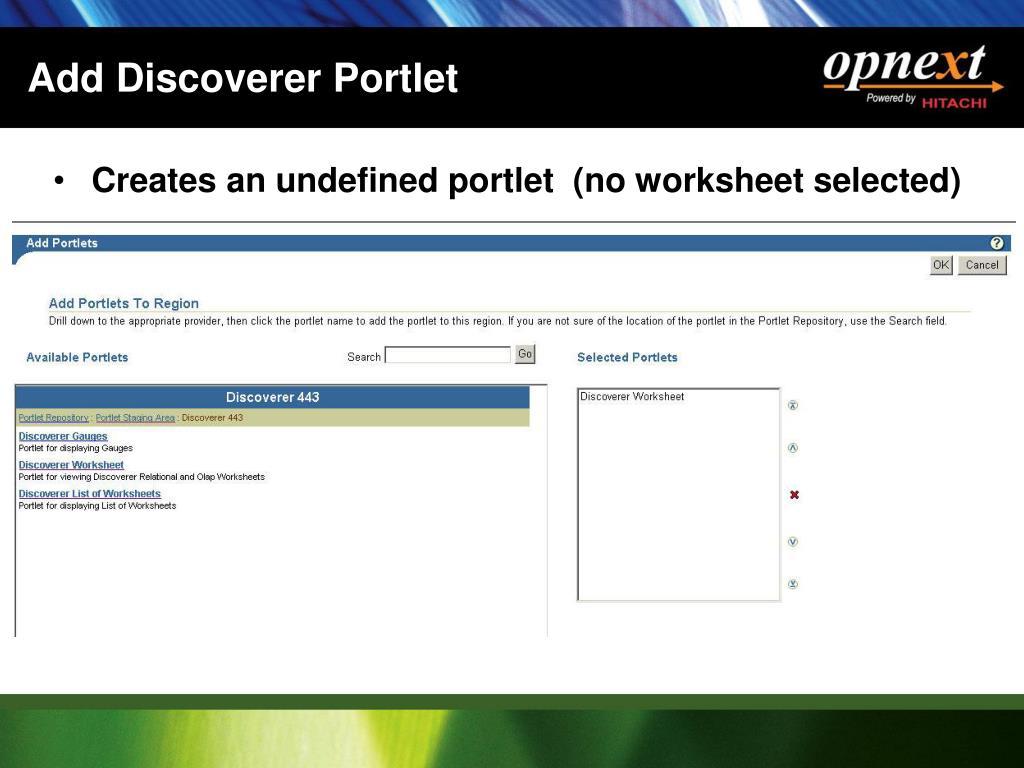 Add Discoverer Portlet
