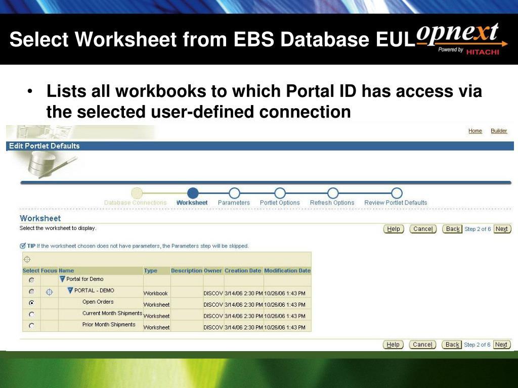 Select Worksheet from EBS Database EUL