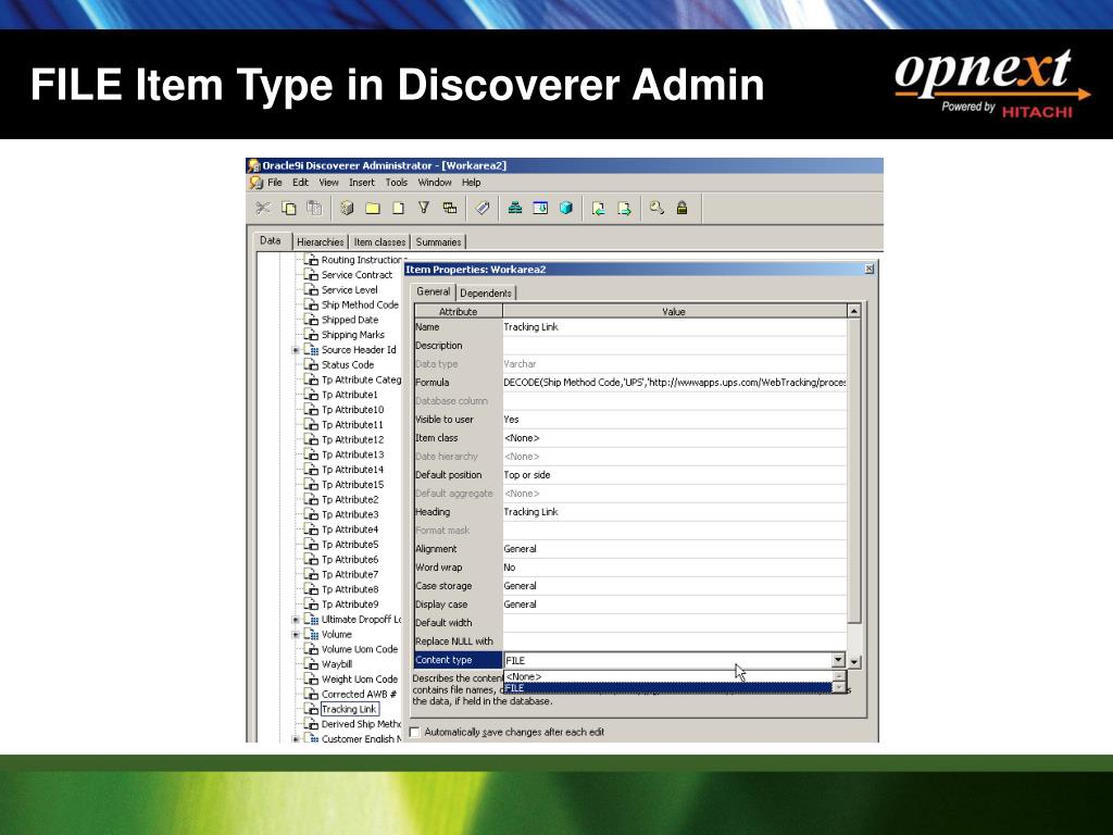 FILE Item Type in Discoverer Admin