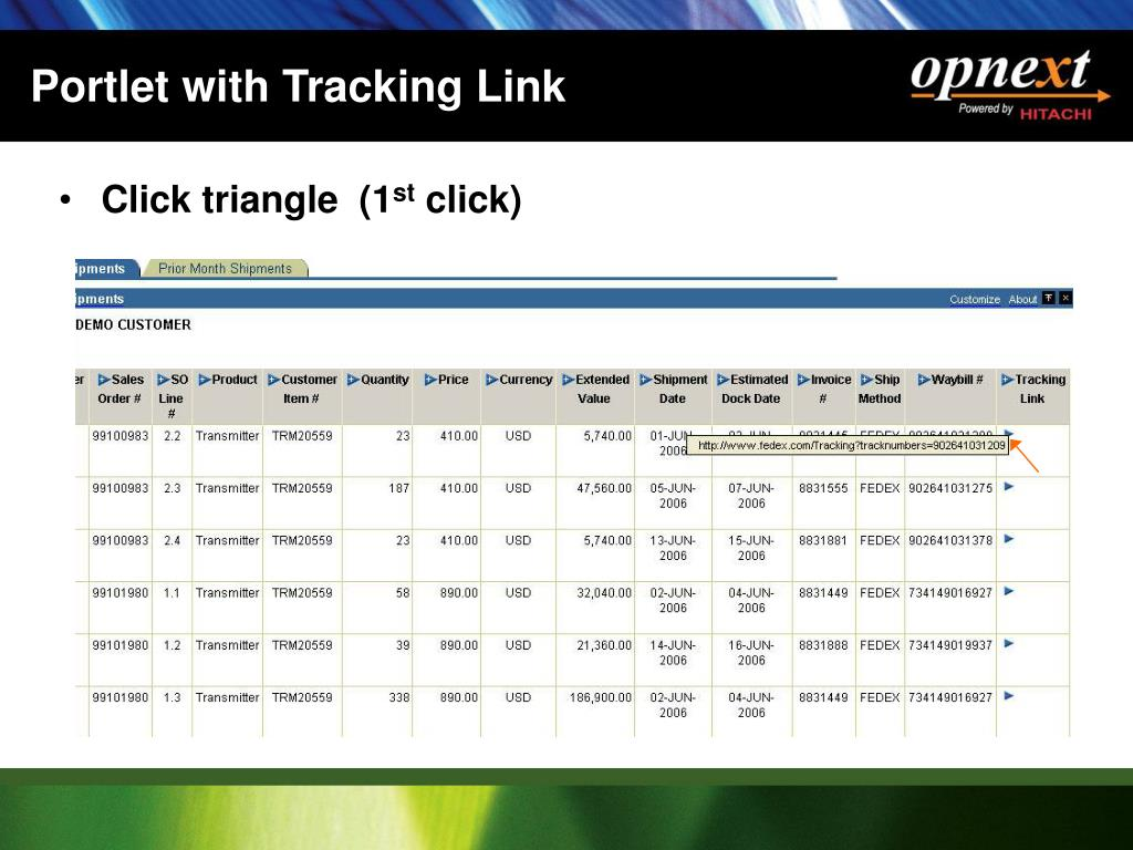 Portlet with Tracking Link