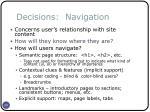 decisions navigation