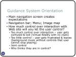 guidance system orientation