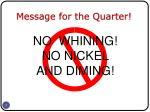 message for the quarter