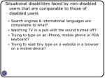 situational disabilities faced by non disabled users that are comparable to those of disabled users