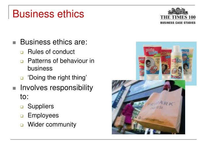 ethics in business case study Business ethics is the study of proper business policies and practices regarding potentially controversial issues such as corporate governance, insider trading, bribery, discrimination, corporate.