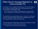 office server message migration to communigate pro