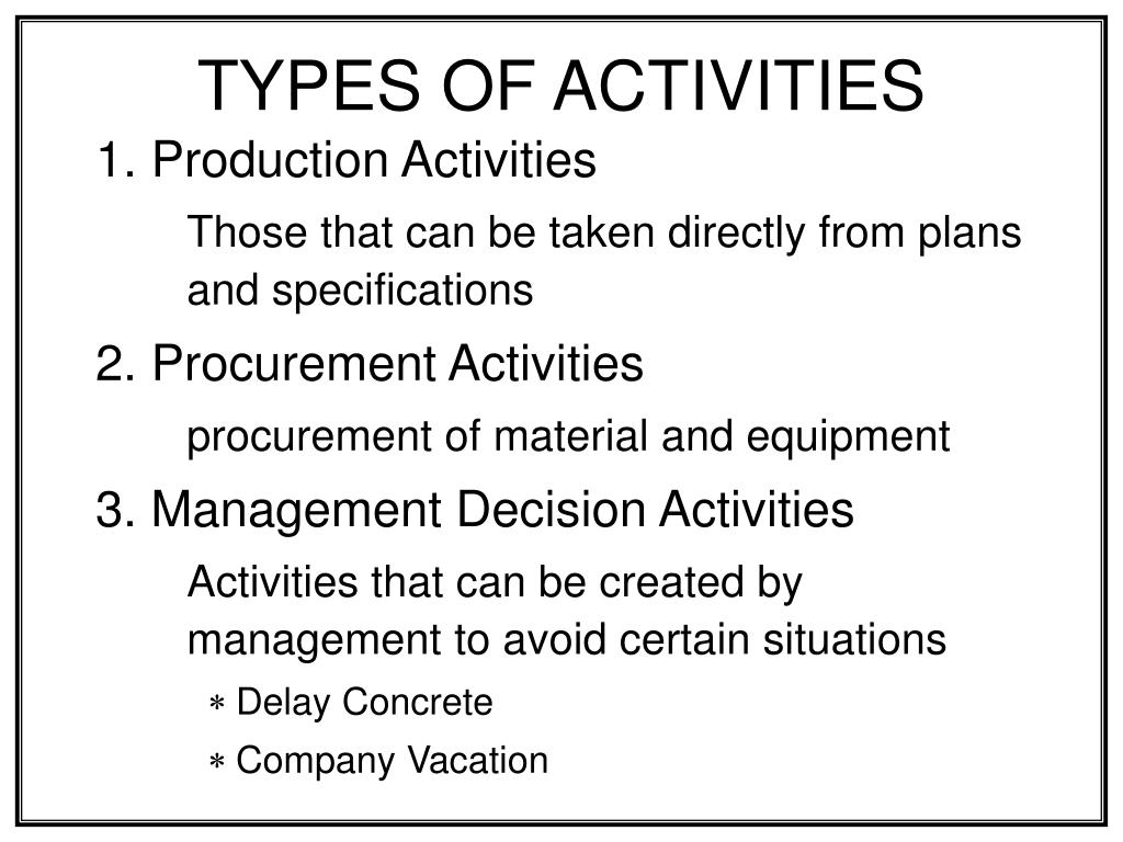 types of activities l.