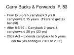 carry backs forwards p 83