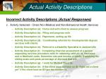 actual activity descriptions17