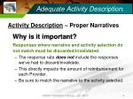 adequate activity description