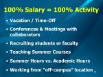 100 salary 100 activity