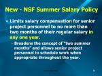 new nsf summer salary policy