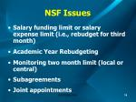 nsf issues
