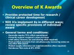 overview of k awards