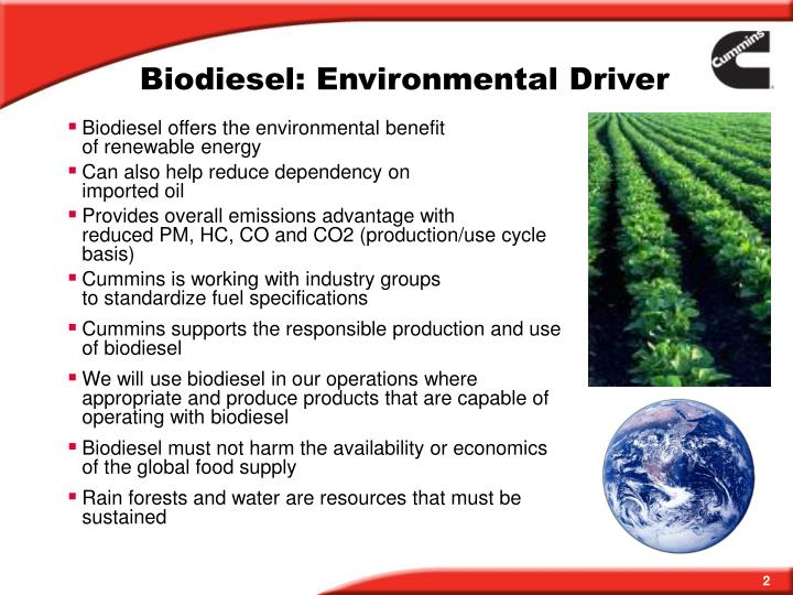 Biodiesel: Environmental Driver