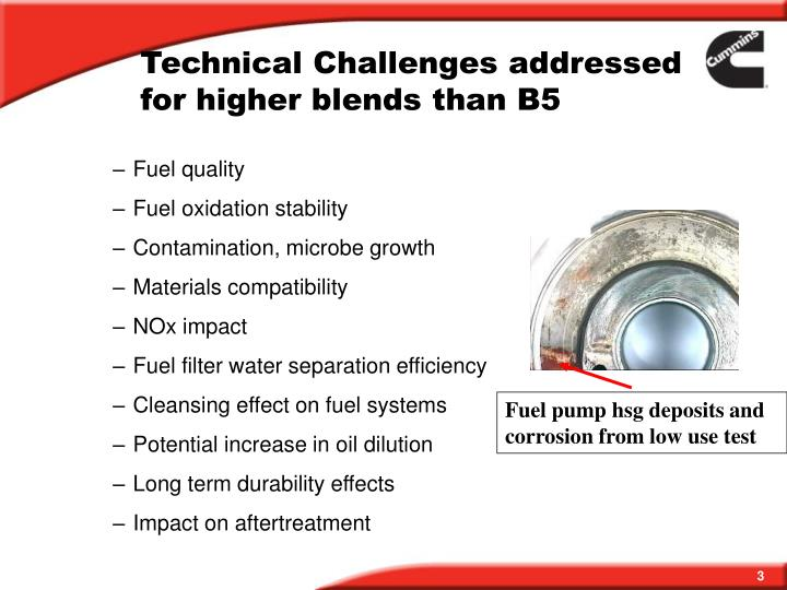 Technical Challenges addressed for higher blends than B5