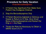 procedure for daily vacation from benzodiazepines