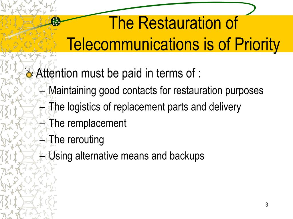 The Restauration of Telecommunications is of Priority