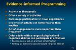 evidence informed programming