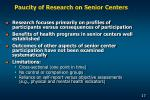 paucity of research on senior centers
