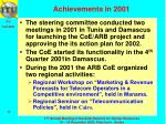 achievements in 2001